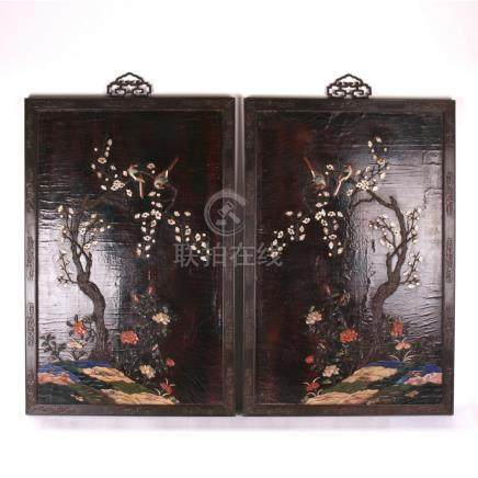 PAIR OF CHINESE GEM STONE INLAID BIRD AND FLOWER LACQUER WAL