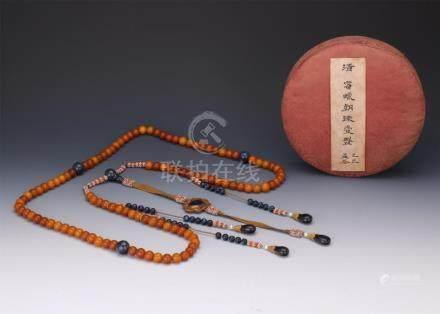 CHINESE HONEY AMBER BEAD CHAOZHU COURT NECKLACE