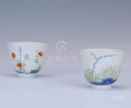 PAIR OF CHINESE PORCELAIN FAMILLE ROSE FLOWER CUPS