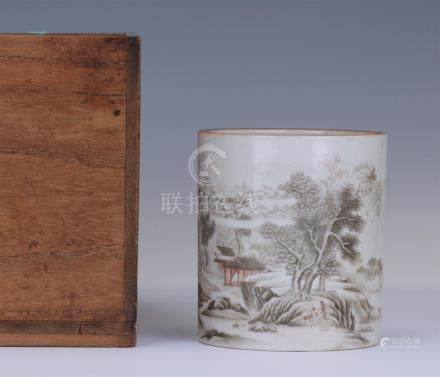 CHINESE PORCELAIN INK PAINTED MOUNTAIN VIEWS BRUSH POT