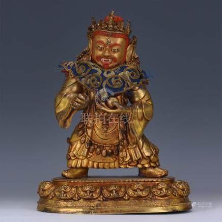 TIBETAN GILT BRONZE STANDING GOD OF WEALTH