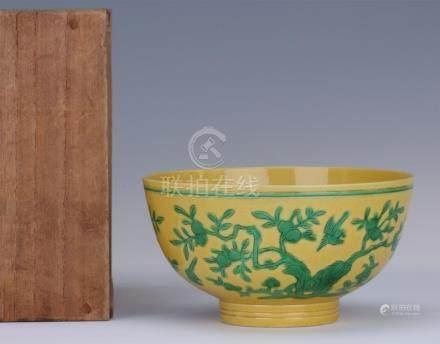 CHINESE PORCELAIN YELLOW GLAZE GREEN PEACH TREE BOWL