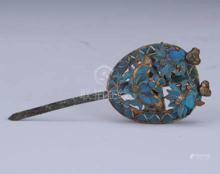 CHINESE GILT SILVER KINGFISH FURTHER HAIR PIN