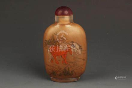 A HORSE PAINTED CRYSTAL SNUFF BOTTLE