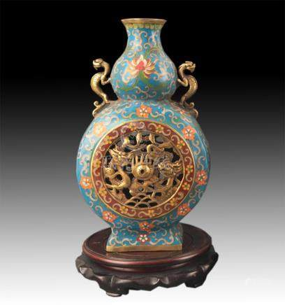 A FINE FAIENCE COLOR DRAGON CARVING CUCURBIT SHAPED VASE