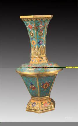 A CLOISONNÉ ENAMEL SIX SIDE LONG NECK VASE