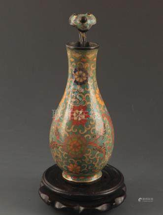 "A BRONZE CLOISONNE 'LUCKY"" FLOWER BOTTLE"
