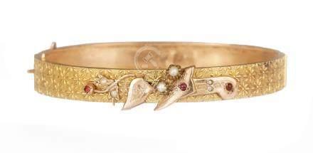 Bracciale in oro giallo e rosa con applicazioni a