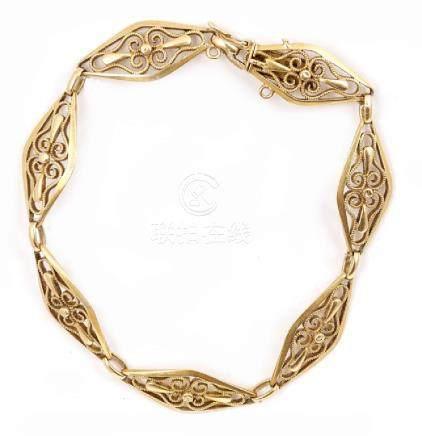 Bracciale in oro giallo epoca Liberty con maglia