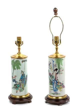 * A Pair of Chinese Porcelain Vases Height overall 19 1/2 in