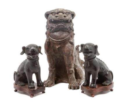 * A Group of Three Chinese Foo Dogs Height of tallest 12 inc