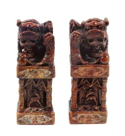 * A Pair of Chinese Foo Dog Soapstone Stamp Sealers Height 8