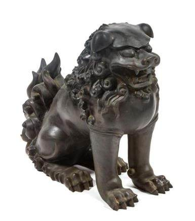 * A Bronze Chinese Foo Dog Height 15 1/4 inches.