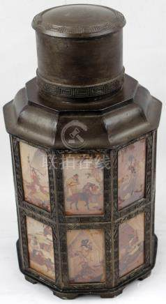 LEAD AND BRONZE ASIAN TEA CADDY
