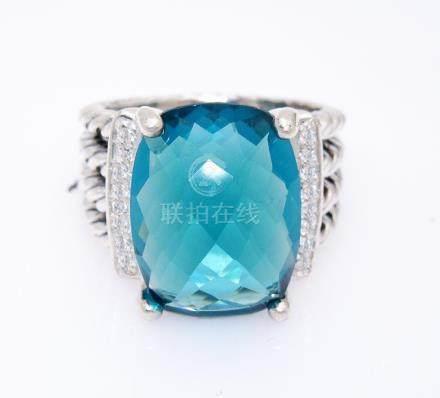 David Yurman Wheaton 16x12mm Blue Topaz 0.13tcw Diamond
