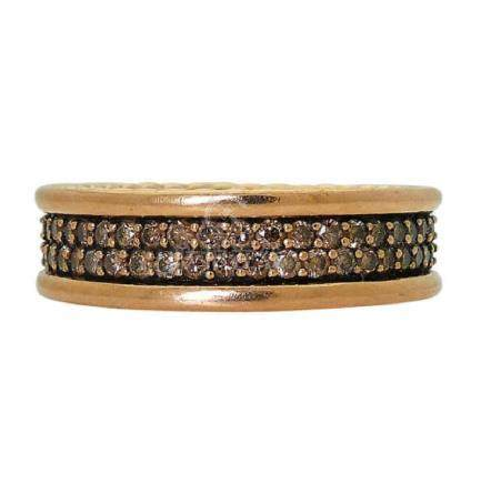 David Yurman 18K Two-Row Cognac Diamond Ring 7mm