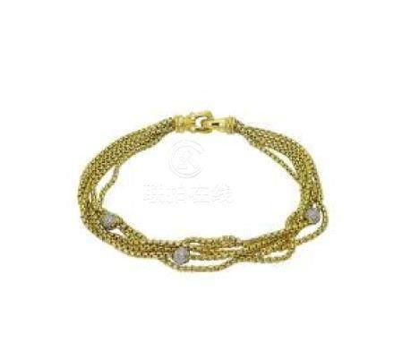 David Yurman 18k Yellow Gold Five Row Chain Bracelet