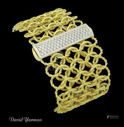 David Yurman Wide Quatrefoil 18k Yellow Gold & Pave