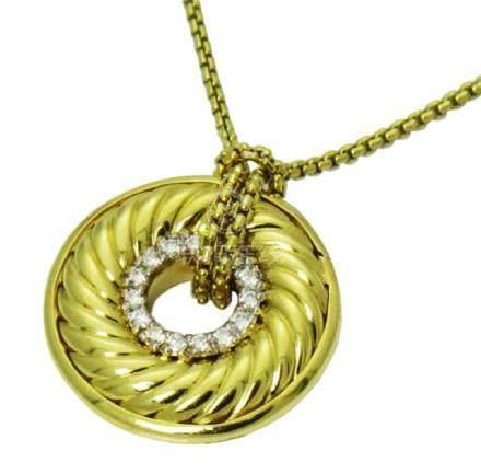 David Yurman 18K Gold Diamond Cable Circle Pendant