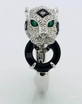 14k White 5.1g Gold Panther Black & White Diamonds With
