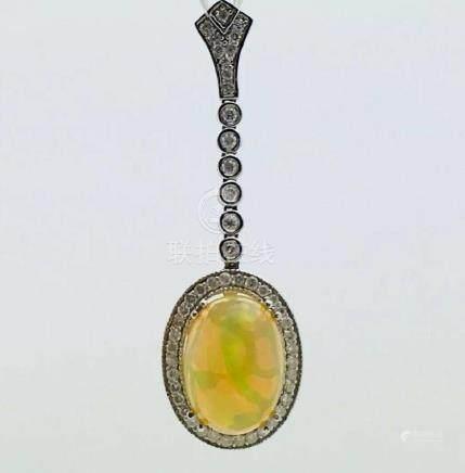 14k White Gold With Australian Opal & Diamond Pendant