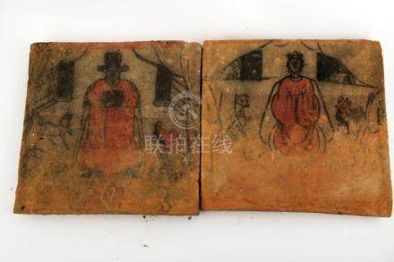 (2) A PAIR OF PORTRAIT BRICK TOMBS OF WOMEN AND MEN.