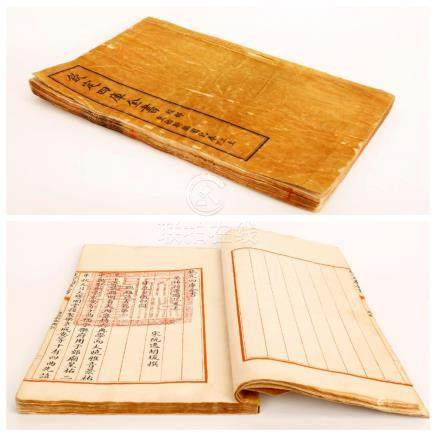 A QING DYNASTY ENGRAVED WOOD BLOCK PRINTING BOOK WITH THREA