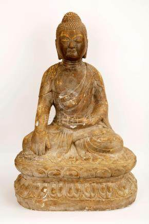 A FINE CARVED STONE BUDDHA STATUES.S008.