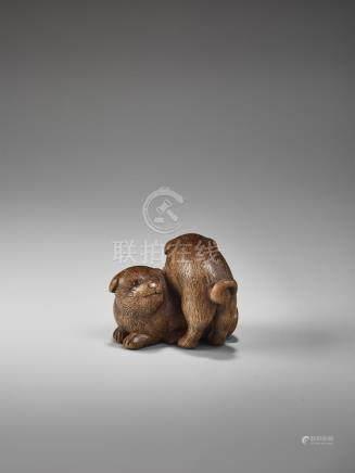 A FINE WOOD NETSUKE OF TWO PUPPIES BY KAGETOSHI