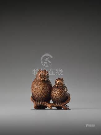 A RARE AND FINE WOOD NETSUKE OF TWO OWLS BY SOSHIN