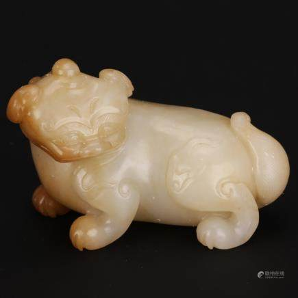 CHINESE WHITE JADE CARVED FOOLION