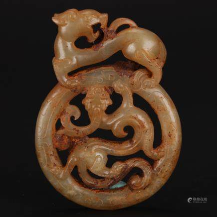 CHINESE ARCHAIC JADE CHILONG PENDANT