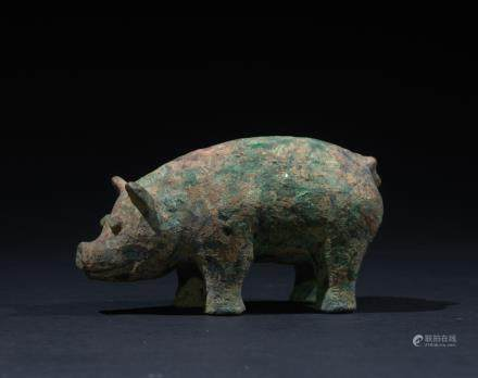 CHINESE BRONZE FIGURE OF BOAR