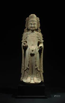 CHINESE STONE FIGURE OF STANDING GUANYIN