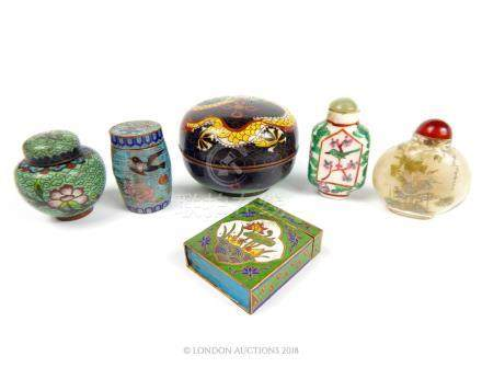 Two Chinese Snuff bottles and Four Small Pieces of Chinese cloisonne.