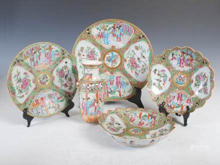 A group of Chinese porcelain famille rose Canton ware, Qing Dynasty, comprising; small vase, 19cm