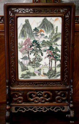 Rosewood Framed Porcelain Painting Table Screen