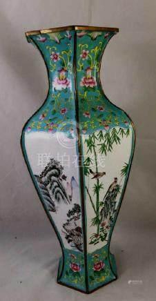Chinese Hexagonal Enamel Vase
