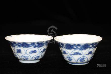 Pair of Qing Dynasty Chinese B&W Bowls