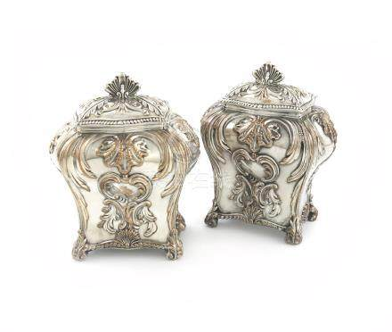 A pair of George III old Sheffield plated tea caddies, by Henry Tudor and Co.,