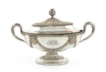 A George III old Sheffield plated sauce tureen and cover, unmarked, probably by