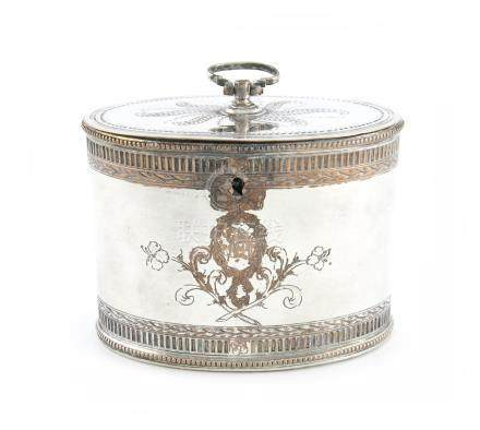 A George III old Sheffield plated tea caddy, unmarked, circa 1775, oval form, f