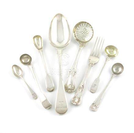 A small collection of George IV / Victorian silver flatware, by William and Mar