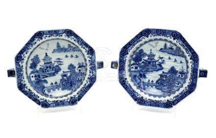 A PAIR OF QIANLONG EIGHT-SIDED RECHAUD PLATES