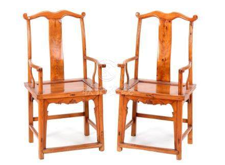 A PAIR OF ORIENTAL ARMCHAIRS