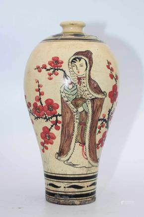 CIZHOU WARE 'LADY AND FLOWERS' VASE