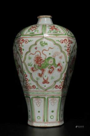 GREEN AND RED GLAZED OCTAGONAL VASE