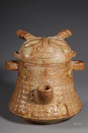 ARCHAIC JADE CARVED RITUAL VESSEL WITH LID