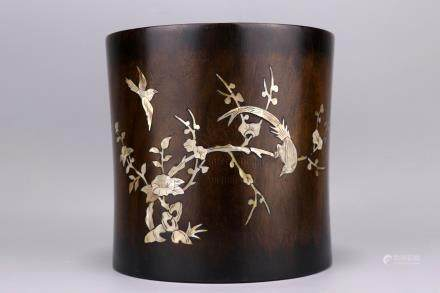 HUALI WOOD INSET MOTHER-OF-PEARL BRUSH POT