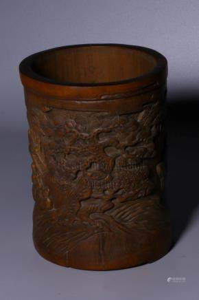 BAMBOO CARVED 'LANDSCAPE SCENERY' BRUSH POT